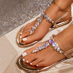NEW Sparking Rose Gold Crystal T-Strap Flat Sandal